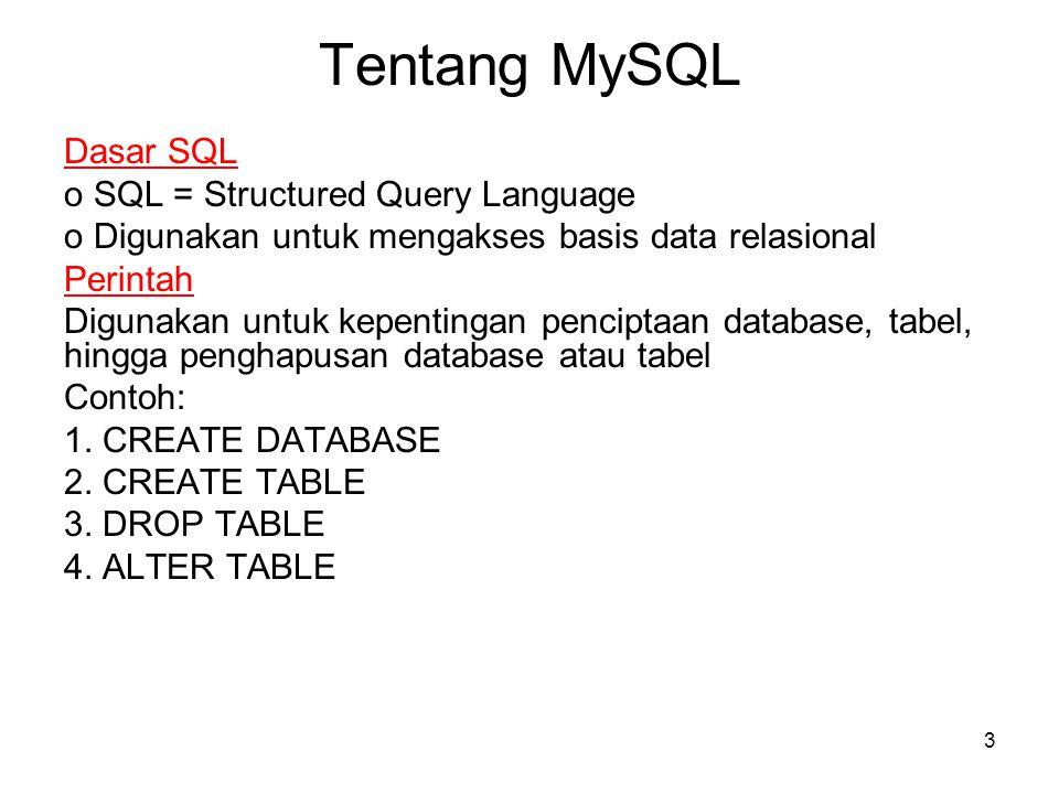 3 Tentang MySQL Dasar SQL o SQL = Structured Query Language o Digunakan untuk mengakses basis data relasional Perintah Digunakan untuk kepentingan pen