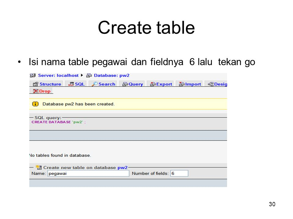 30 Create table •Isi nama table pegawai dan fieldnya 6 lalu tekan go