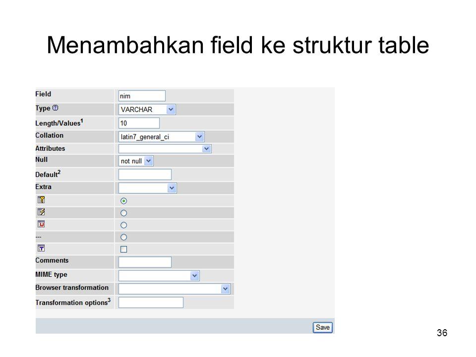 36 Menambahkan field ke struktur table