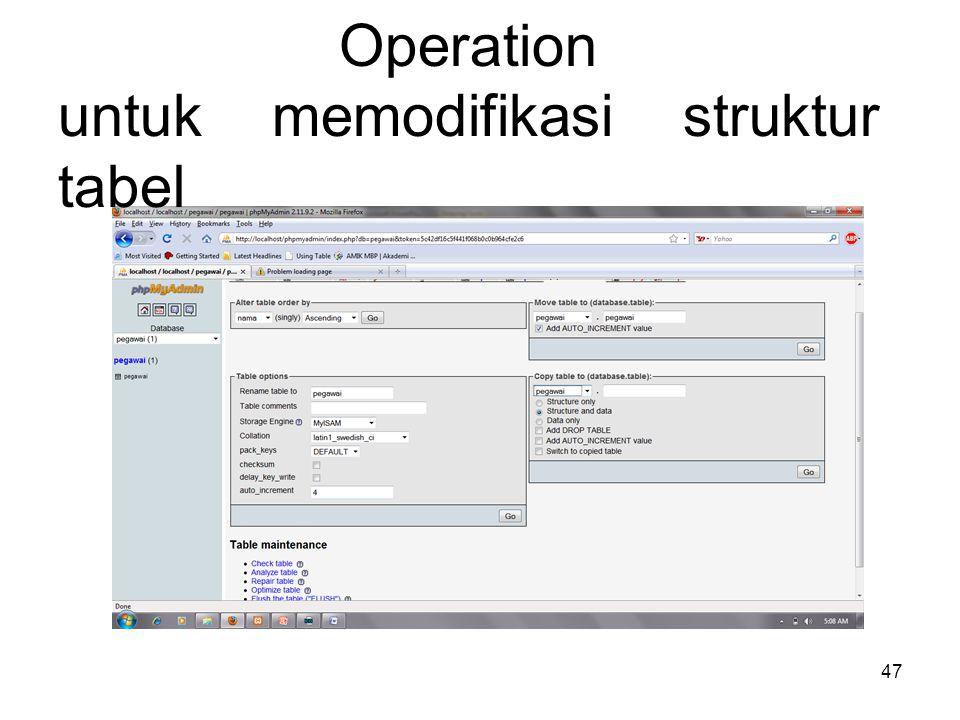 Operation untuk memodifikasi struktur tabel 47