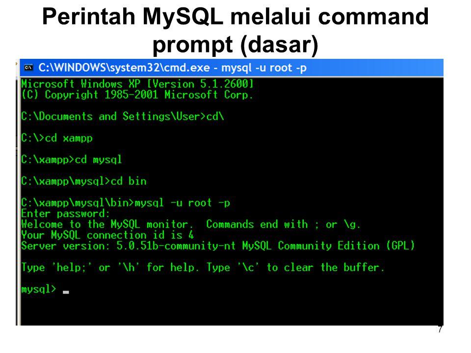 7 Perintah MySQL melalui command prompt (dasar)