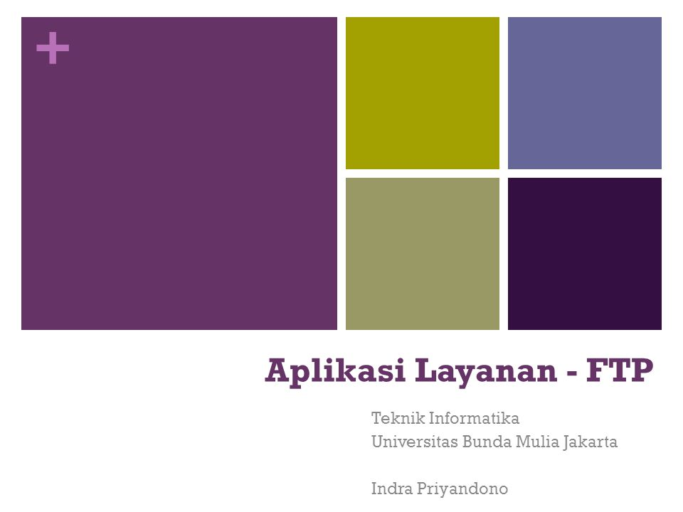 + Aplikasi Layanan - FTP Teknik Informatika Universitas Bunda Mulia Jakarta Indra Priyandono