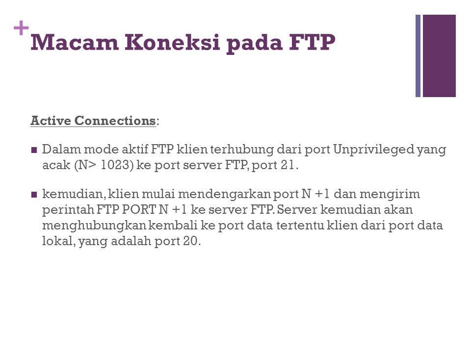 + Active Connections:  Dalam mode aktif FTP klien terhubung dari port Unprivileged yang acak (N> 1023) ke port server FTP, port 21.  kemudian, klien