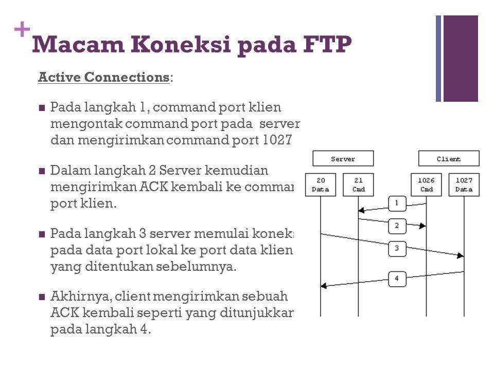 + Active Connections:  Pada langkah 1, command port klien mengontak command port pada server dan mengirimkan command port 1027.  Dalam langkah 2 Ser