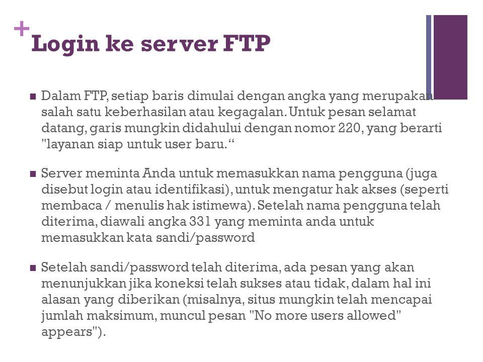 +  Dalam FTP, setiap baris dimulai dengan angka yang merupakan salah satu keberhasilan atau kegagalan. Untuk pesan selamat datang, garis mungkin dida