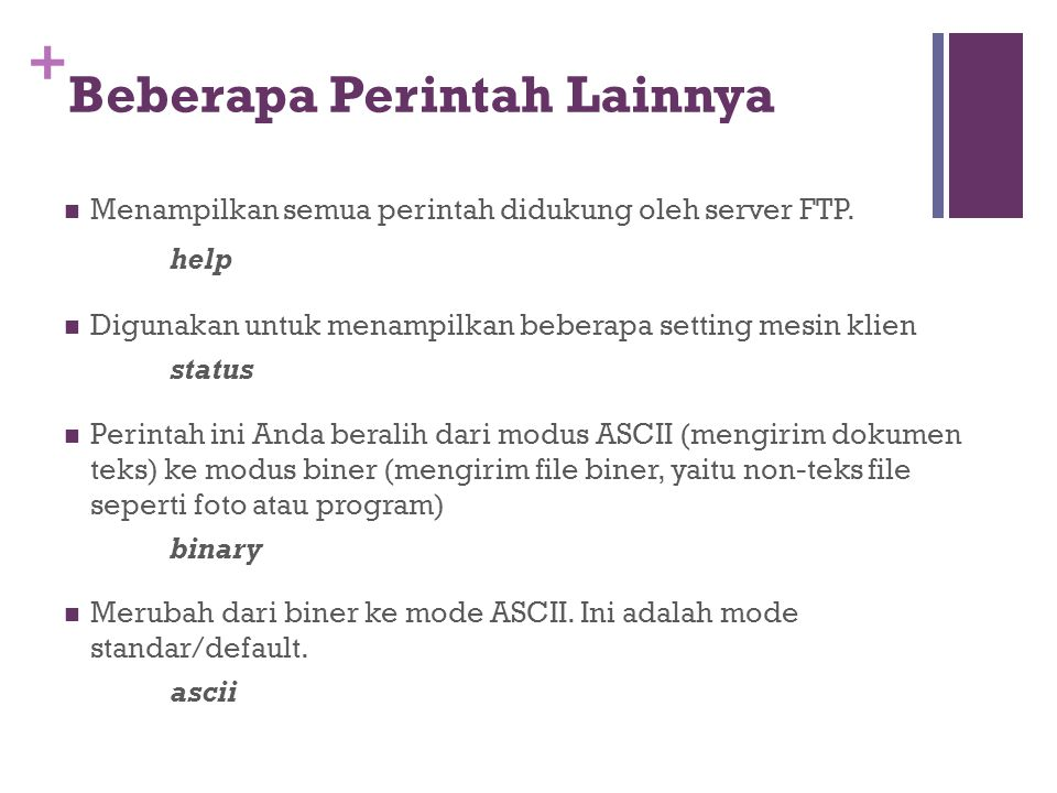 + Beberapa Perintah Lainnya  Menampilkan semua perintah didukung oleh server FTP. help  Digunakan untuk menampilkan beberapa setting mesin klien sta