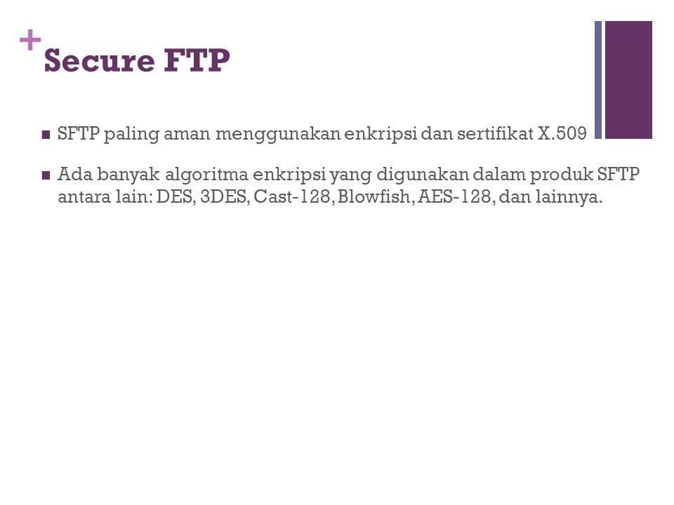 +  SFTP paling aman menggunakan enkripsi dan sertifikat X.509  Ada banyak algoritma enkripsi yang digunakan dalam produk SFTP antara lain: DES, 3DES