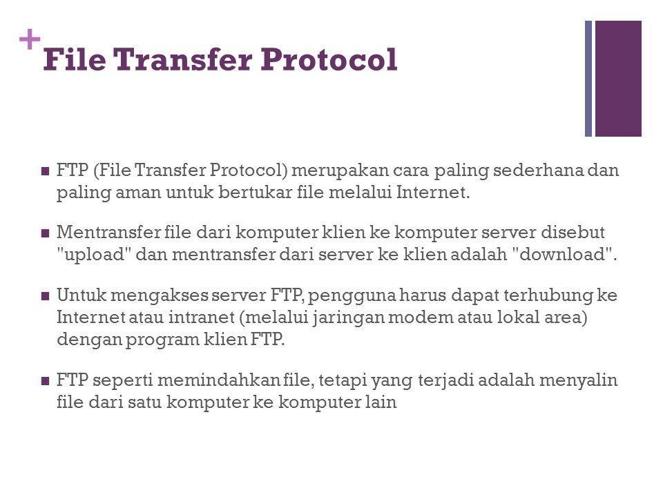 + File Transfer Protocol  FTP (File Transfer Protocol) merupakan cara paling sederhana dan paling aman untuk bertukar file melalui Internet.