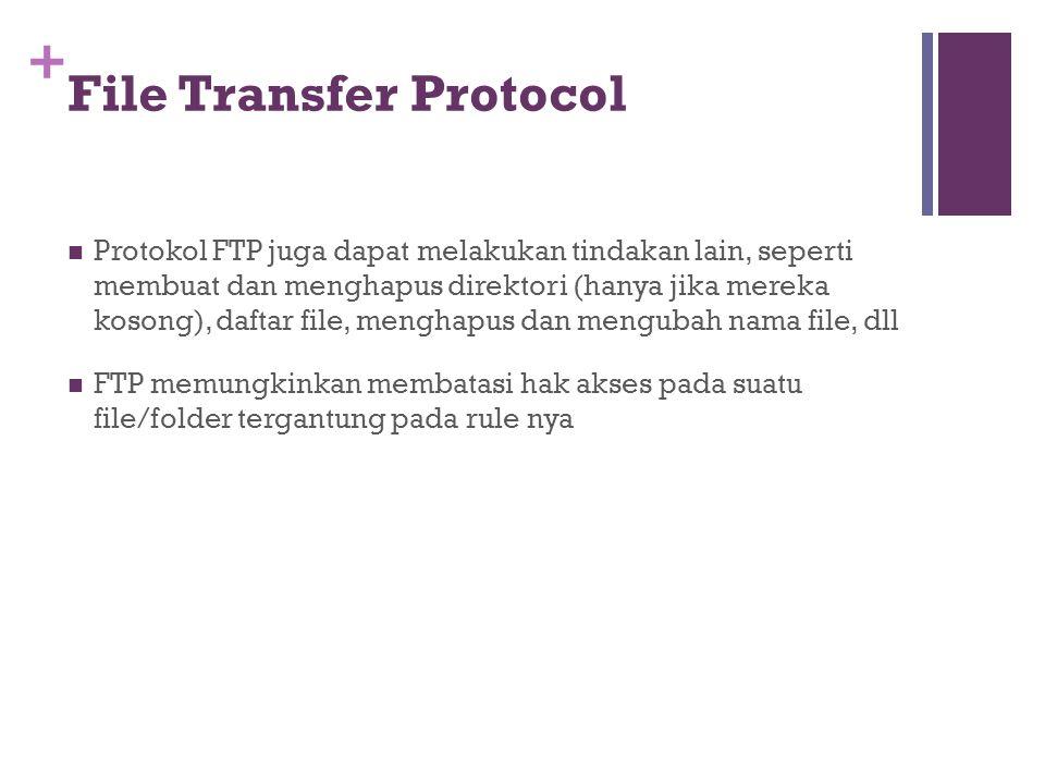 +  Protokol FTP juga dapat melakukan tindakan lain, seperti membuat dan menghapus direktori (hanya jika mereka kosong), daftar file, menghapus dan mengubah nama file, dll  FTP memungkinkan membatasi hak akses pada suatu file/folder tergantung pada rule nya File Transfer Protocol