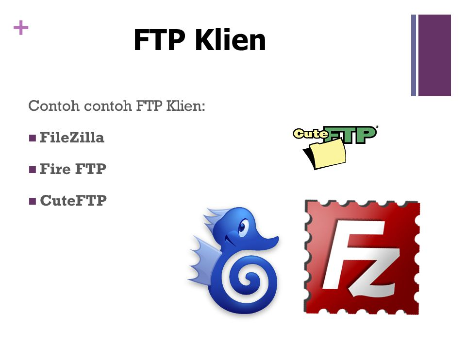 + Contoh contoh FTP Klien:  FileZilla  Fire FTP  CuteFTP FTP Klien