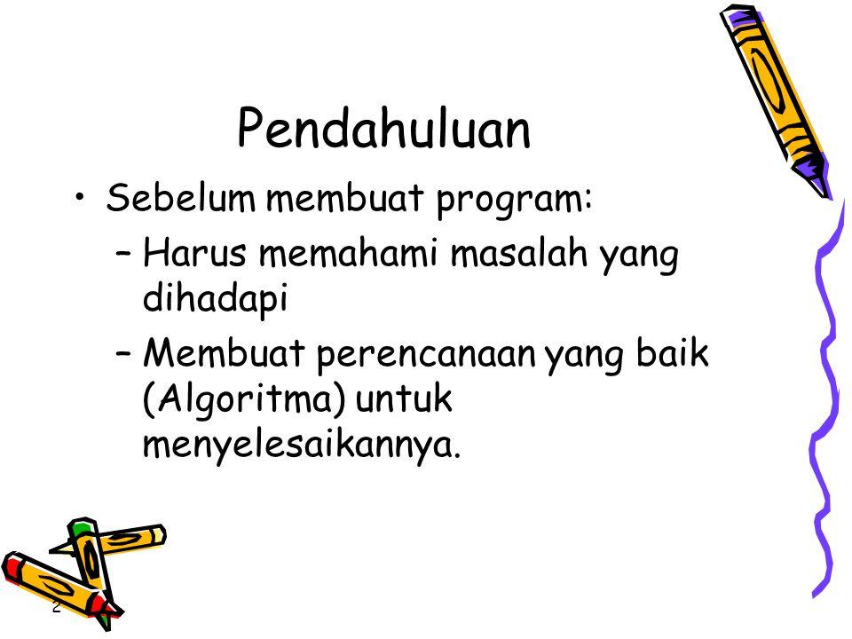 Pendahuluan •Sebelum membuat program: –Harus memahami masalah yang dihadapi –Membuat perencanaan yang baik (Algoritma) untuk menyelesaikannya. 2