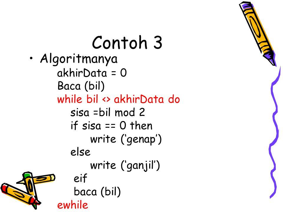 Contoh 3 •Algoritmanya akhirData = 0 Baca (bil) while bil <> akhirData do sisa =bil mod 2 if sisa == 0 then write ('genap') else write ('ganjil') eif