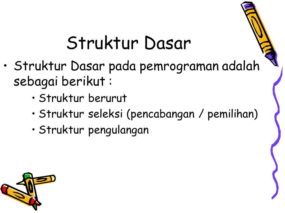 Struktur Dasar •Struktur Dasar pada pemrograman adalah sebagai berikut : •Struktur berurut •Struktur seleksi (pencabangan / pemilihan) •Struktur pengu