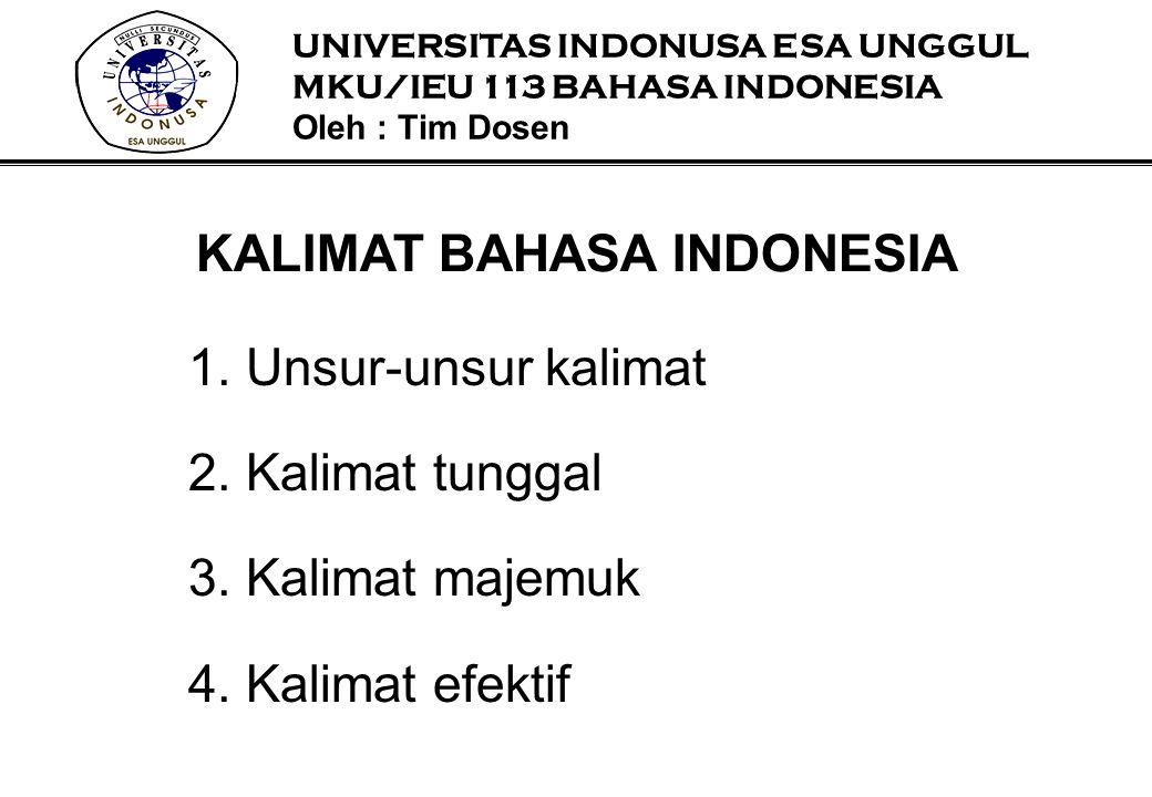 1. Unsur-unsur kalimat 2. Kalimat tunggal 3. Kalimat majemuk 4. Kalimat efektif KALIMAT BAHASA INDONESIA UNIVERSITAS INDONUSA ESA UNGGUL MKU/IEU 113 B