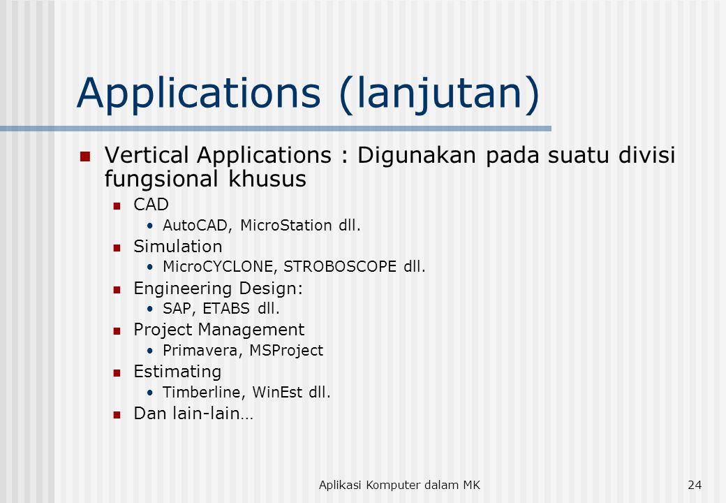 Aplikasi Komputer dalam MK24 Applications (lanjutan)  Vertical Applications : Digunakan pada suatu divisi fungsional khusus  CAD •AutoCAD, MicroStation dll.
