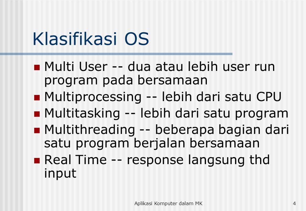 Aplikasi Komputer dalam MK4 Klasifikasi OS  Multi User -- dua atau lebih user run program pada bersamaan  Multiprocessing -- lebih dari satu CPU  Multitasking -- lebih dari satu program  Multithreading -- beberapa bagian dari satu program berjalan bersamaan  Real Time -- response langsung thd input