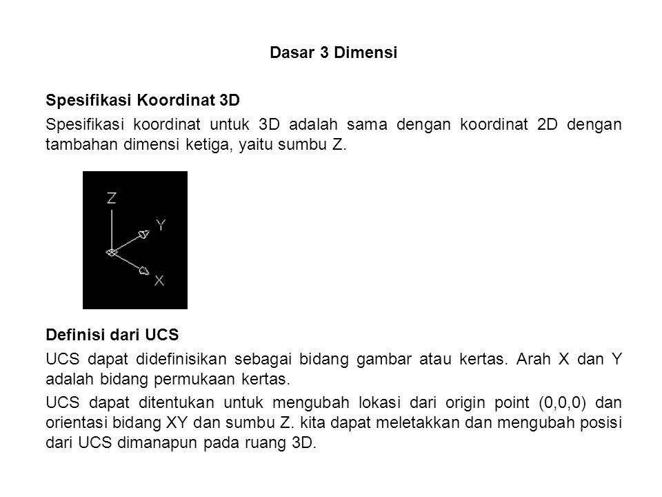 Dasar 3 Dimensi Spesifikasi Koordinat 3D Spesifikasi koordinat untuk 3D adalah sama dengan koordinat 2D dengan tambahan dimensi ketiga, yaitu sumbu Z.