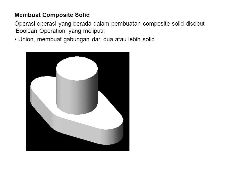 Membuat Composite Solid Operasi-operasi yang berada dalam pembuatan composite solid disebut 'Boolean Operation' yang meliputi: • Union, membuat gabung