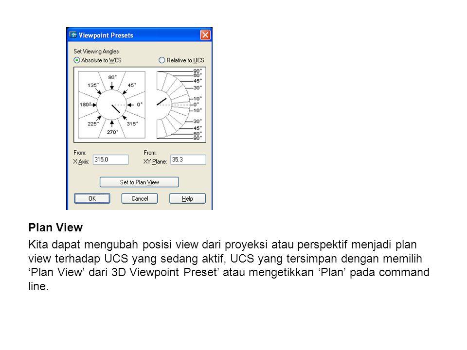 Plan View Kita dapat mengubah posisi view dari proyeksi atau perspektif menjadi plan view terhadap UCS yang sedang aktif, UCS yang tersimpan dengan me