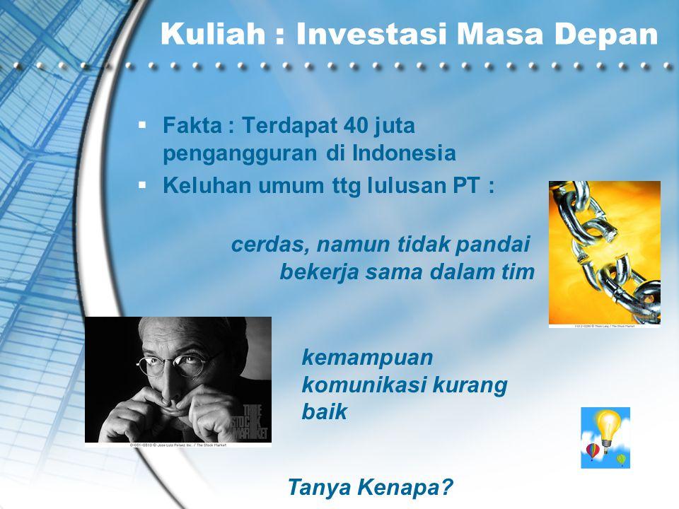 Kuliah : Investasi Masa Depan  Fakta : Terdapat 40 juta pengangguran di Indonesia  Keluhan umum ttg lulusan PT : cerdas, namun tidak pandai bekerja