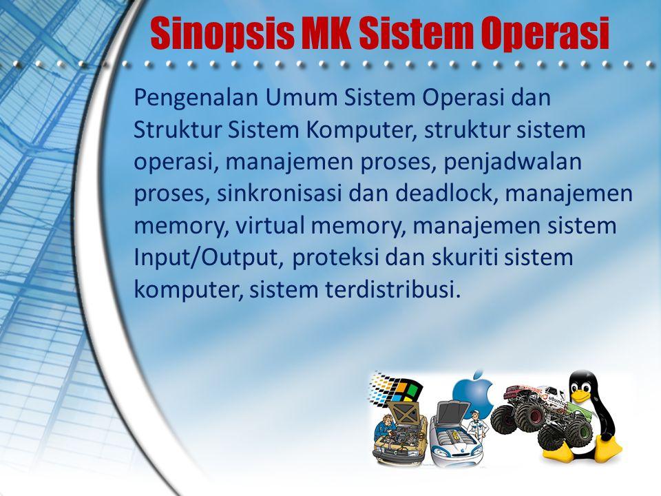 Sinopsis MK Sistem Operasi Pengenalan Umum Sistem Operasi dan Struktur Sistem Komputer, struktur sistem operasi, manajemen proses, penjadwalan proses,