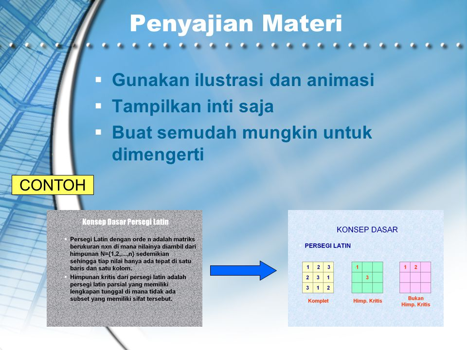 Penyajian Materi  Gunakan ilustrasi dan animasi  Tampilkan inti saja  Buat semudah mungkin untuk dimengerti CONTOH