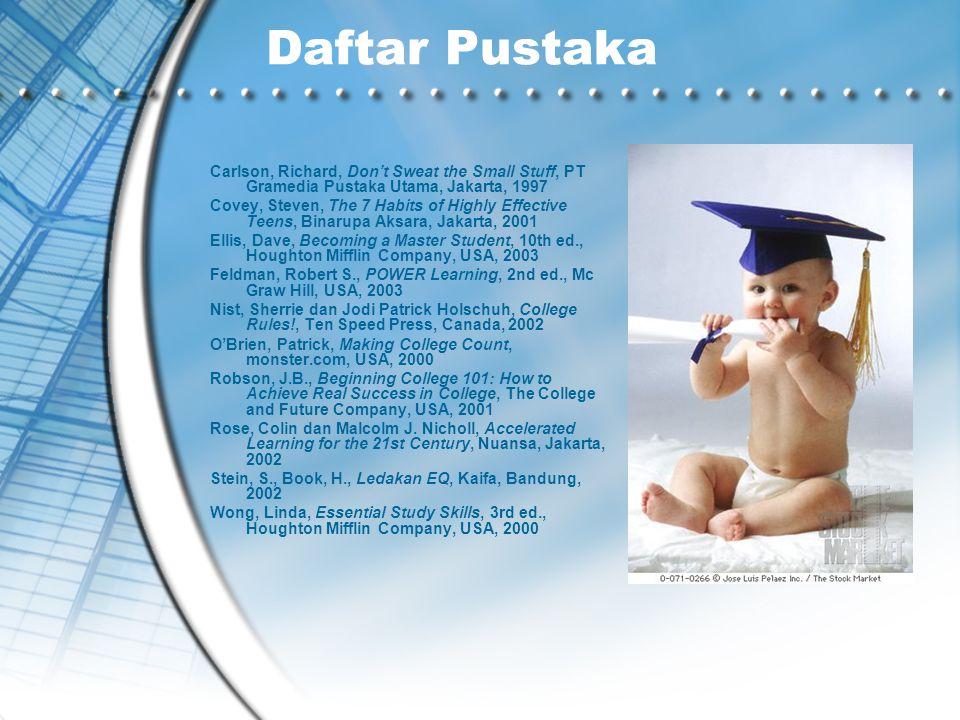 Daftar Pustaka Carlson, Richard, Don't Sweat the Small Stuff, PT Gramedia Pustaka Utama, Jakarta, 1997 Covey, Steven, The 7 Habits of Highly Effective