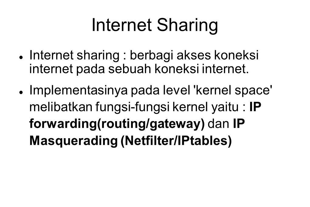 Internet Sharing  Internet sharing : berbagi akses koneksi internet pada sebuah koneksi internet.  Implementasinya pada level 'kernel space' melibat