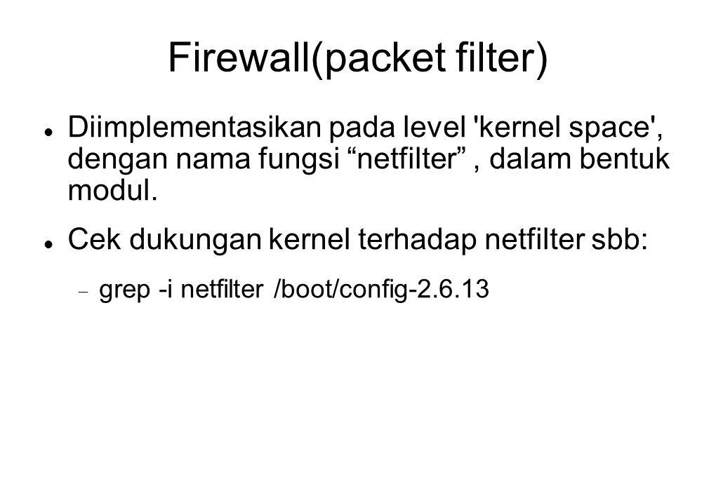 """Firewall(packet filter)  Diimplementasikan pada level 'kernel space', dengan nama fungsi """"netfilter"""", dalam bentuk modul.  Cek dukungan kernel terha"""