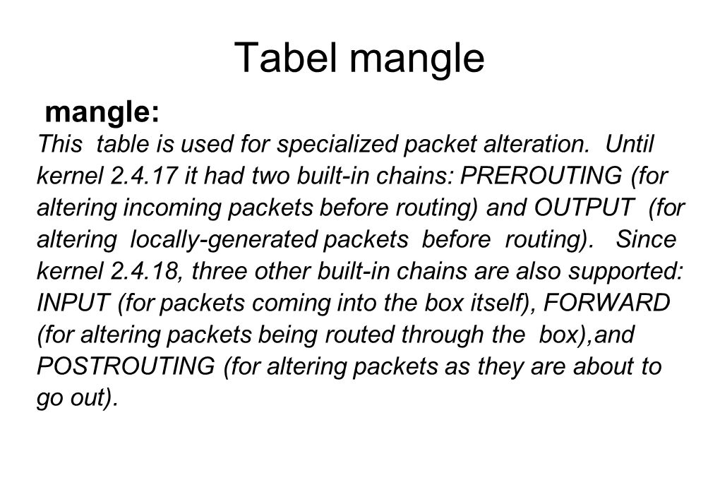Tabel mangle mangle: This table is used for specialized packet alteration.