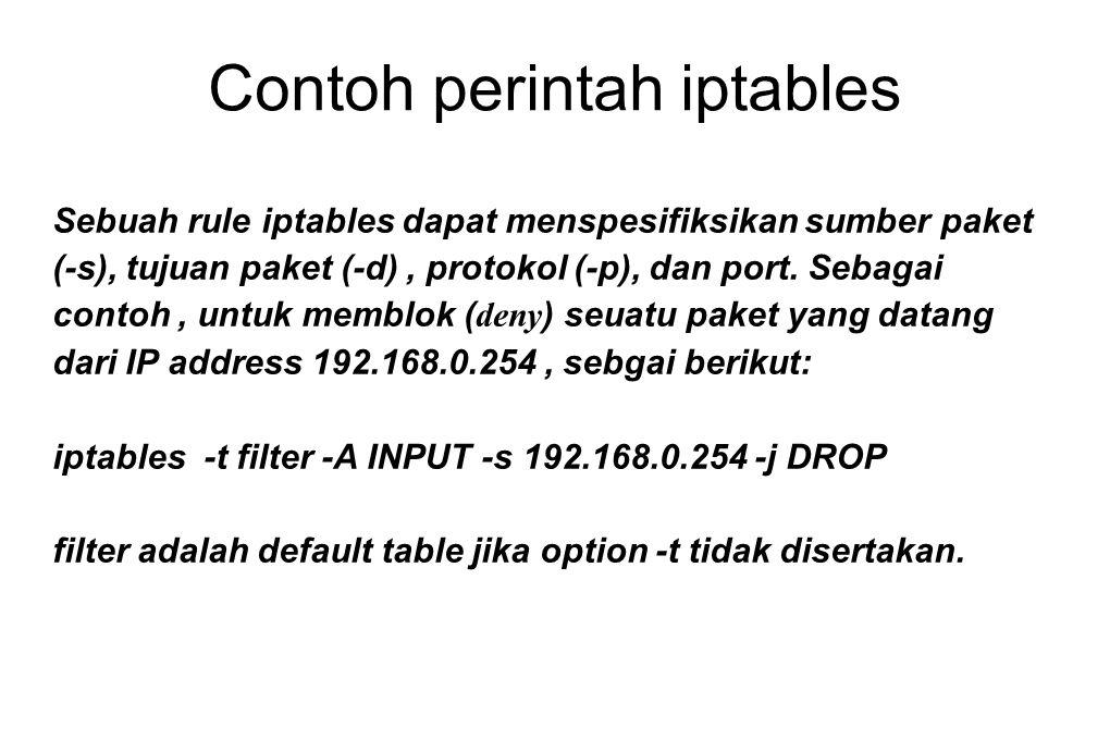 Contoh perintah iptables Sebuah rule iptables dapat menspesifiksikan sumber paket (-s), tujuan paket (-d), protokol (-p), dan port. Sebagai contoh, un