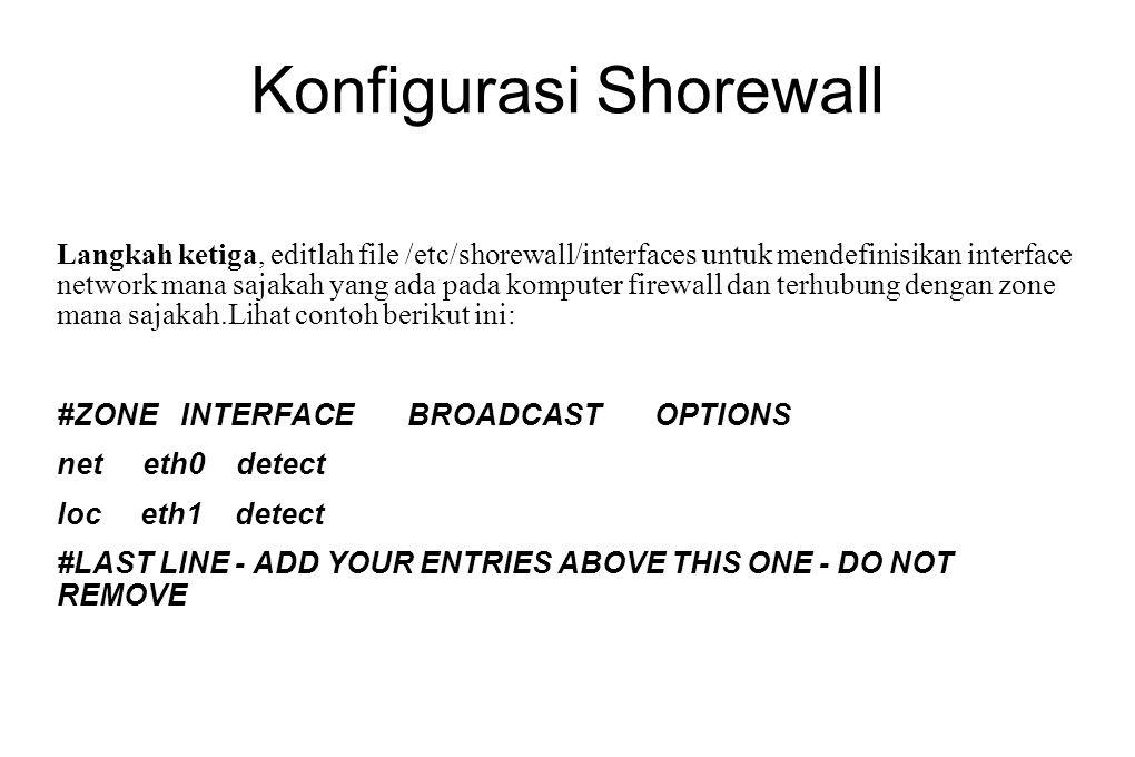 Konfigurasi Shorewall Langkah ketiga, editlah file /etc/shorewall/interfaces untuk mendefinisikan interface network mana sajakah yang ada pada kompute