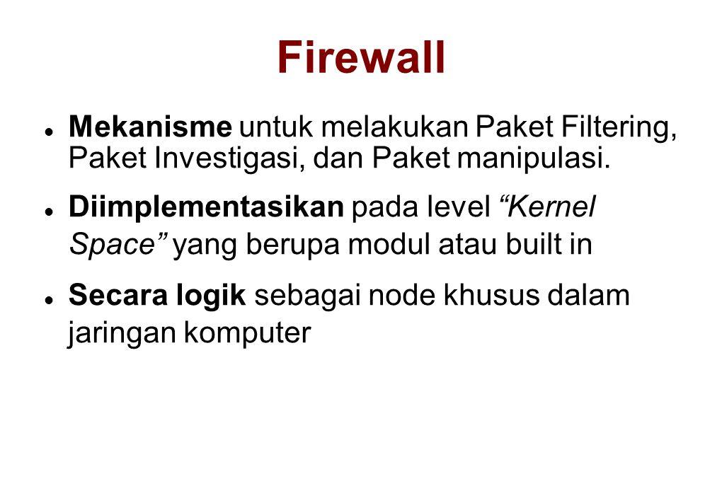 """Firewall  Mekanisme untuk melakukan Paket Filtering, Paket Investigasi, dan Paket manipulasi.  Diimplementasikan pada level """"Kernel Space"""" yang beru"""