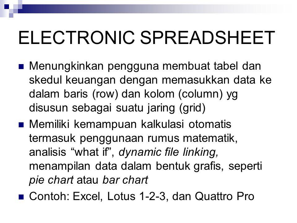 ELECTRONIC SPREADSHEET  Menungkinkan pengguna membuat tabel dan skedul keuangan dengan memasukkan data ke dalam baris (row) dan kolom (column) yg disusun sebagai suatu jaring (grid)  Memiliki kemampuan kalkulasi otomatis termasuk penggunaan rumus matematik, analisis what if , dynamic file linking, menampilan data dalam bentuk grafis, seperti pie chart atau bar chart  Contoh: Excel, Lotus 1-2-3, dan Quattro Pro