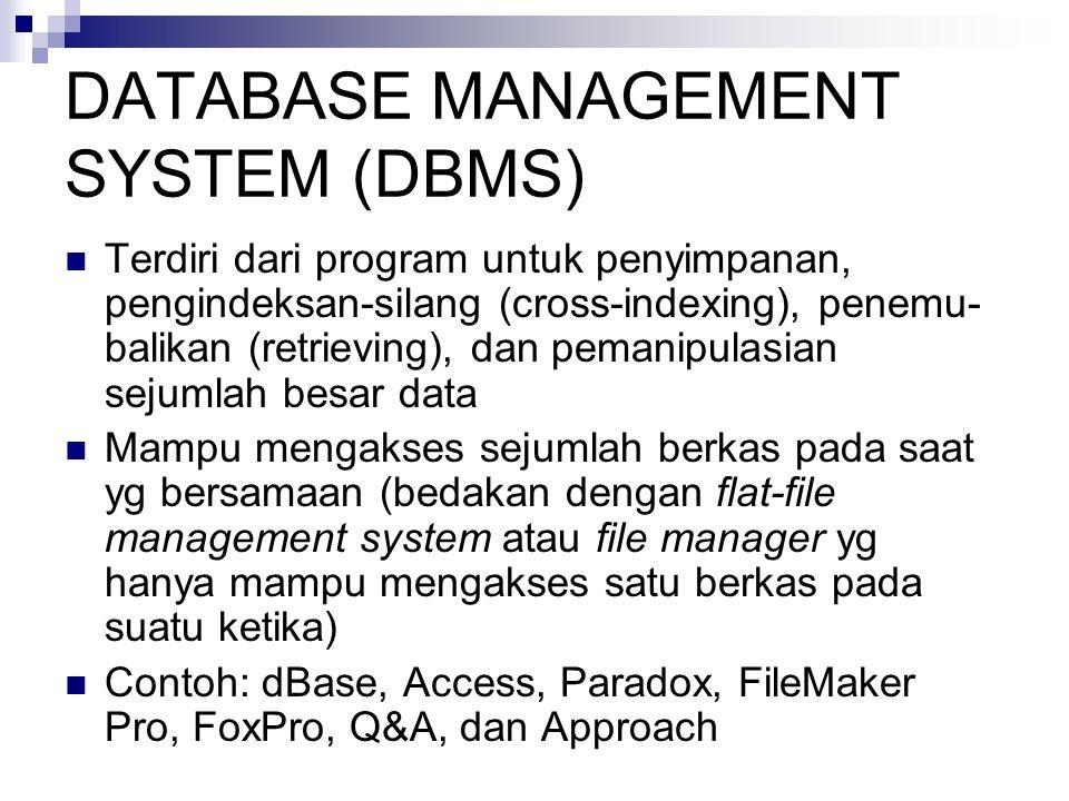 DATABASE MANAGEMENT SYSTEM (DBMS)  Terdiri dari program untuk penyimpanan, pengindeksan-silang (cross-indexing), penemu- balikan (retrieving), dan pemanipulasian sejumlah besar data  Mampu mengakses sejumlah berkas pada saat yg bersamaan (bedakan dengan flat-file management system atau file manager yg hanya mampu mengakses satu berkas pada suatu ketika)  Contoh: dBase, Access, Paradox, FileMaker Pro, FoxPro, Q&A, dan Approach