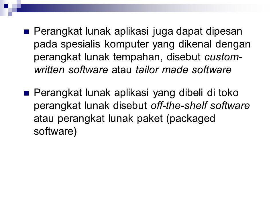  Perangkat lunak aplikasi juga dapat dipesan pada spesialis komputer yang dikenal dengan perangkat lunak tempahan, disebut custom- written software atau tailor made software  Perangkat lunak aplikasi yang dibeli di toko perangkat lunak disebut off-the-shelf software atau perangkat lunak paket (packaged software)