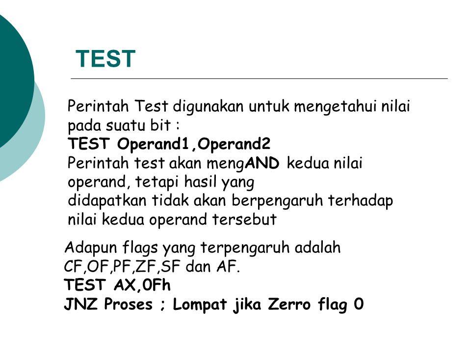TEST Perintah Test digunakan untuk mengetahui nilai pada suatu bit : TEST Operand1,Operand2 Perintah test akan mengAND kedua nilai operand, tetapi has