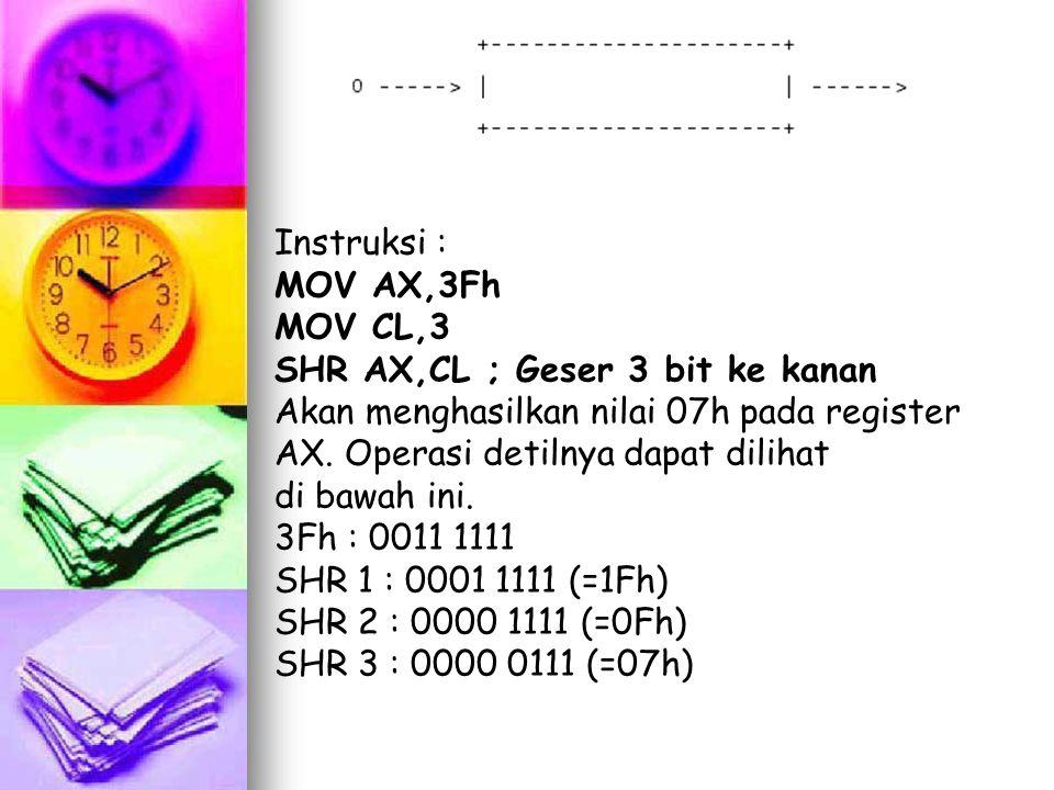 Instruksi : MOV AX,3Fh MOV CL,3 SHR AX,CL ; Geser 3 bit ke kanan Akan menghasilkan nilai 07h pada register AX. Operasi detilnya dapat dilihat di bawah