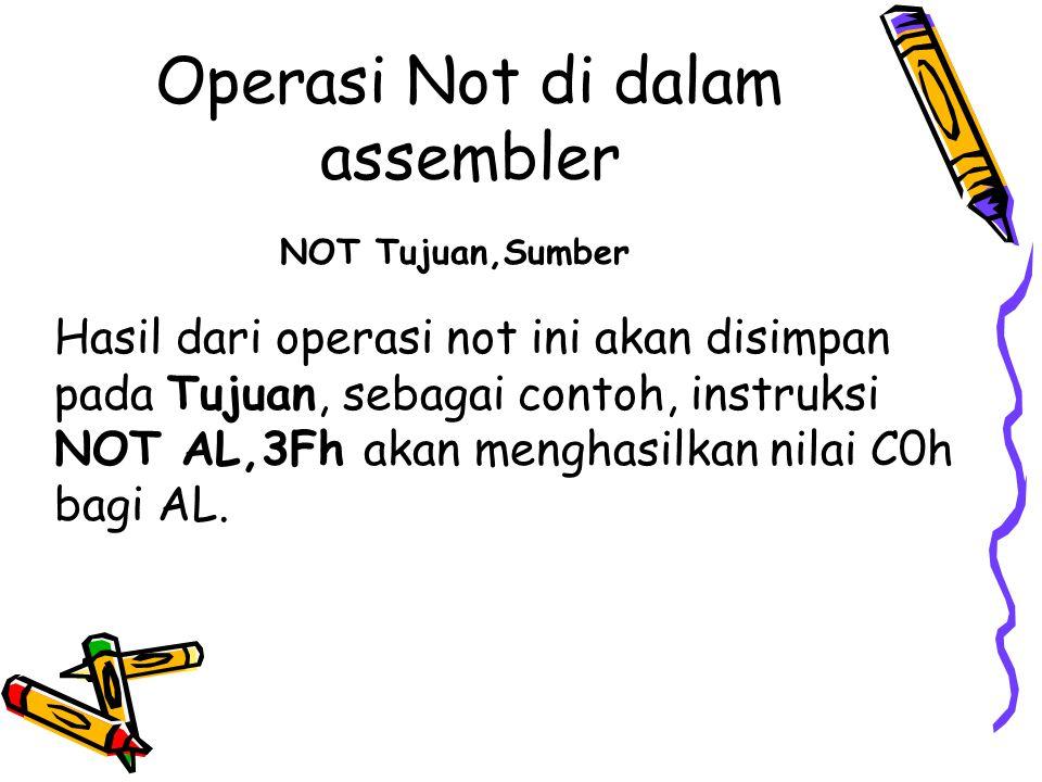 Operasi Not di dalam assembler NOT Tujuan,Sumber Hasil dari operasi not ini akan disimpan pada Tujuan, sebagai contoh, instruksi NOT AL,3Fh akan mengh