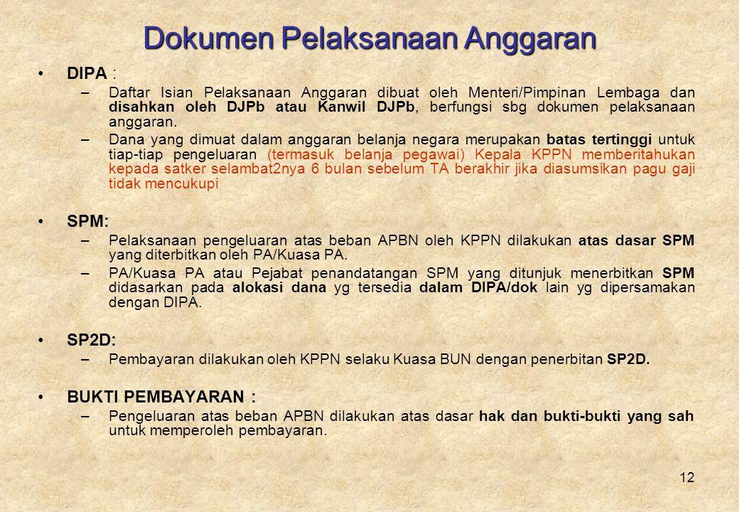 12 Dokumen Pelaksanaan Anggaran •DIPA : –Daftar Isian Pelaksanaan Anggaran dibuat oleh Menteri/Pimpinan Lembaga dan disahkan oleh DJPb atau Kanwil DJPb, berfungsi sbg dokumen pelaksanaan anggaran.