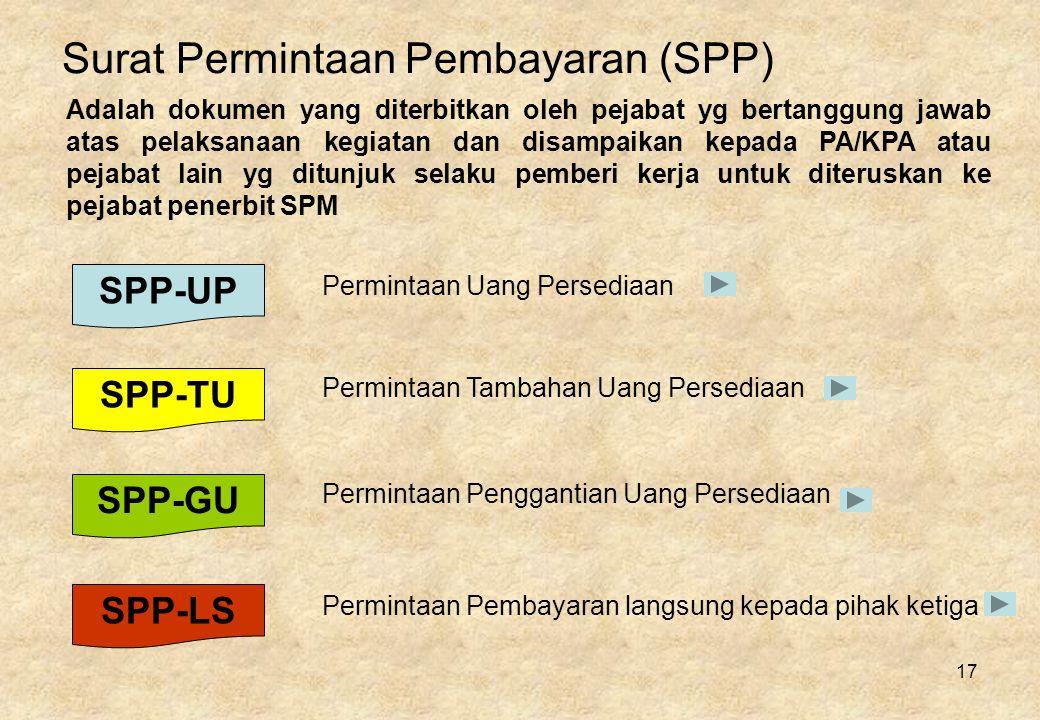 17 Surat Permintaan Pembayaran (SPP) Adalah dokumen yang diterbitkan oleh pejabat yg bertanggung jawab atas pelaksanaan kegiatan dan disampaikan kepada PA/KPA atau pejabat lain yg ditunjuk selaku pemberi kerja untuk diteruskan ke pejabat penerbit SPM Permintaan Uang Persediaan Permintaan Tambahan Uang Persediaan Permintaan Penggantian Uang Persediaan Permintaan Pembayaran langsung kepada pihak ketiga SPP-UP SPP-TU SPP-GU SPP-LS