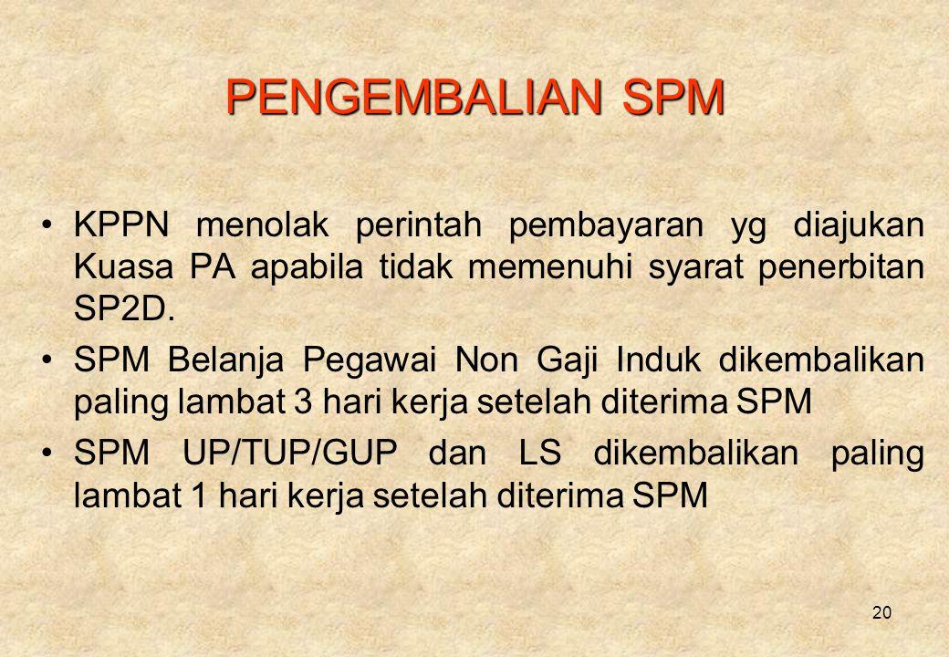 20 PENGEMBALIAN SPM •KPPN menolak perintah pembayaran yg diajukan Kuasa PA apabila tidak memenuhi syarat penerbitan SP2D.