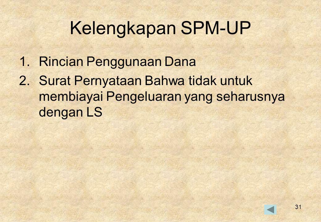 31 Kelengkapan SPM-UP 1.Rincian Penggunaan Dana 2.Surat Pernyataan Bahwa tidak untuk membiayai Pengeluaran yang seharusnya dengan LS