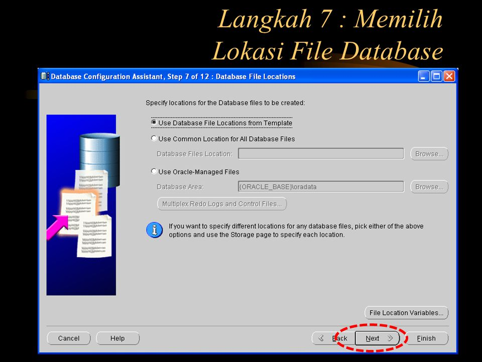 Langkah 7 : Memilih Lokasi File Database