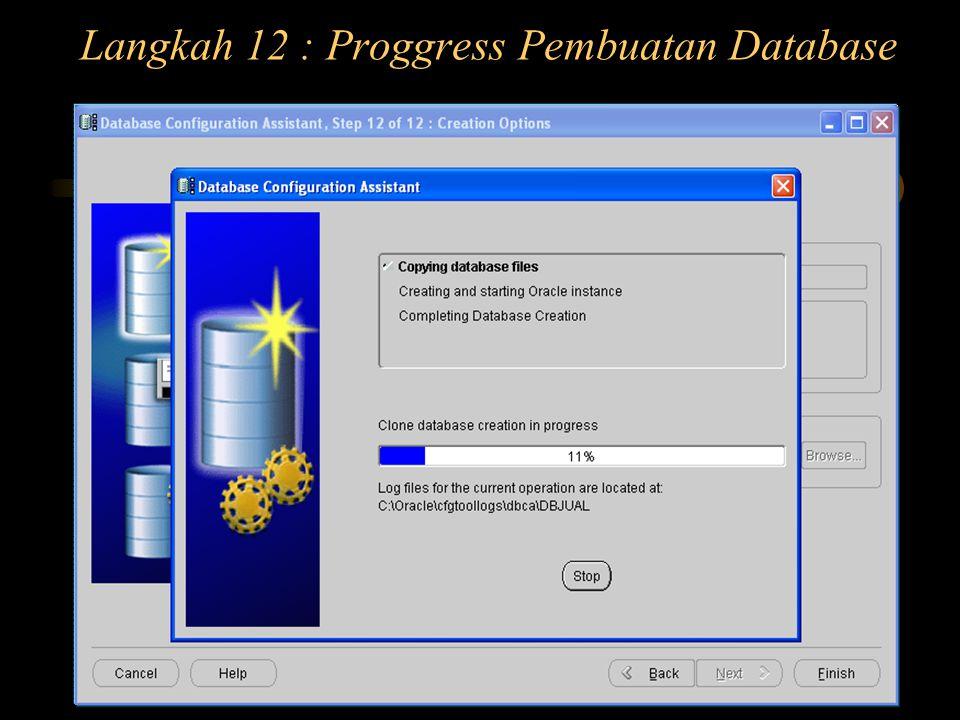 Langkah 12 : Proggress Pembuatan Database