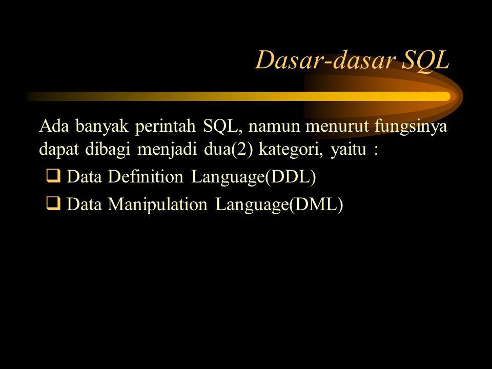 Ada banyak perintah SQL, namun menurut fungsinya dapat dibagi menjadi dua(2) kategori, yaitu :  Data Definition Language(DDL)  Data Manipulation Lan