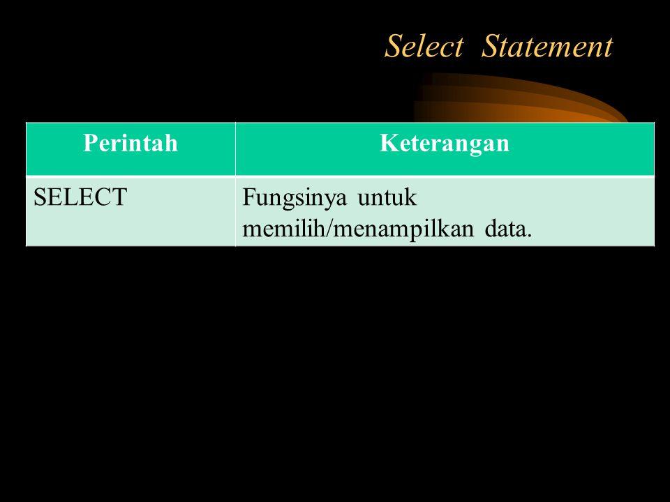 Select Statement PerintahKeterangan SELECTFungsinya untuk memilih/menampilkan data.