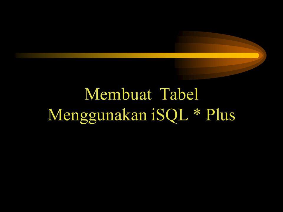Membuat Tabel Menggunakan iSQL * Plus