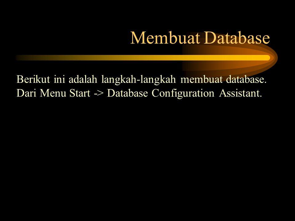 Membuat Database Berikut ini adalah langkah-langkah membuat database. Dari Menu Start -> Database Configuration Assistant.