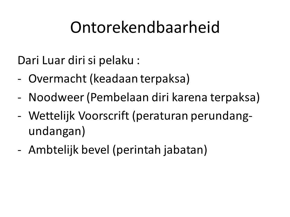 Ontorekendbaarheid Dari Luar diri si pelaku : -Overmacht (keadaan terpaksa) -Noodweer (Pembelaan diri karena terpaksa) -Wettelijk Voorscrift (peraturan perundang- undangan) -Ambtelijk bevel (perintah jabatan)